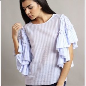 Free People Style Mafia Striped Ruffle Blouse S